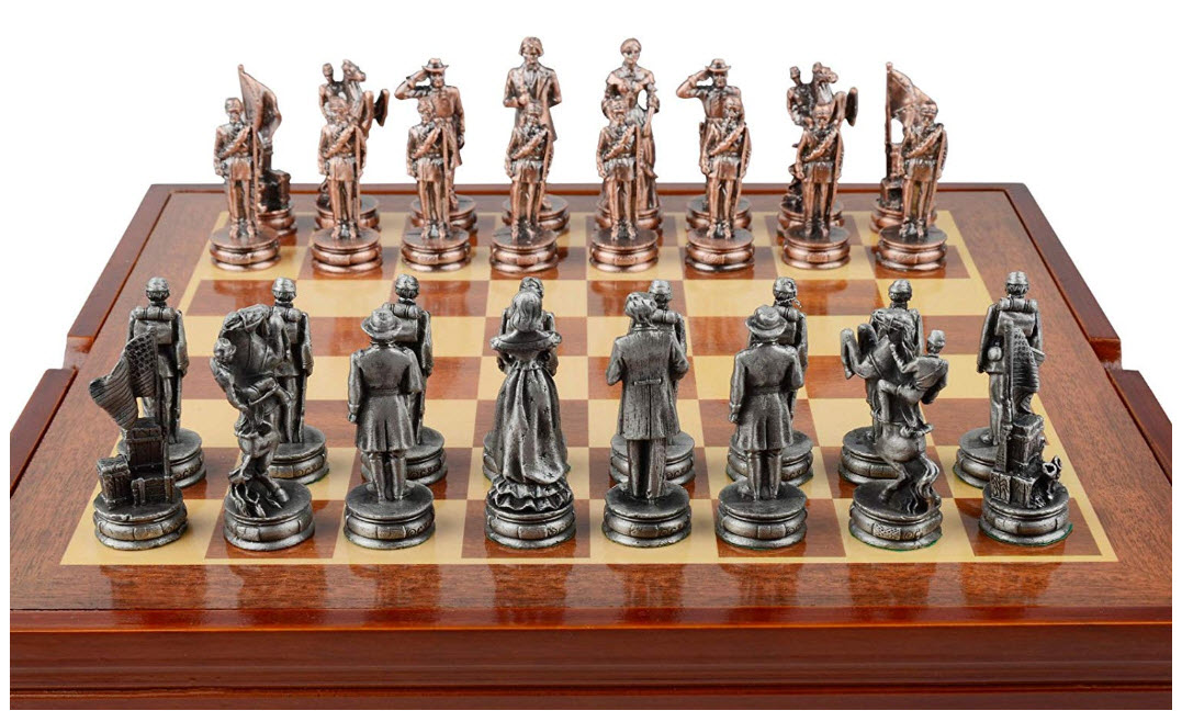 Civil War-Themed Chess Set 32 Pewter Pieces
