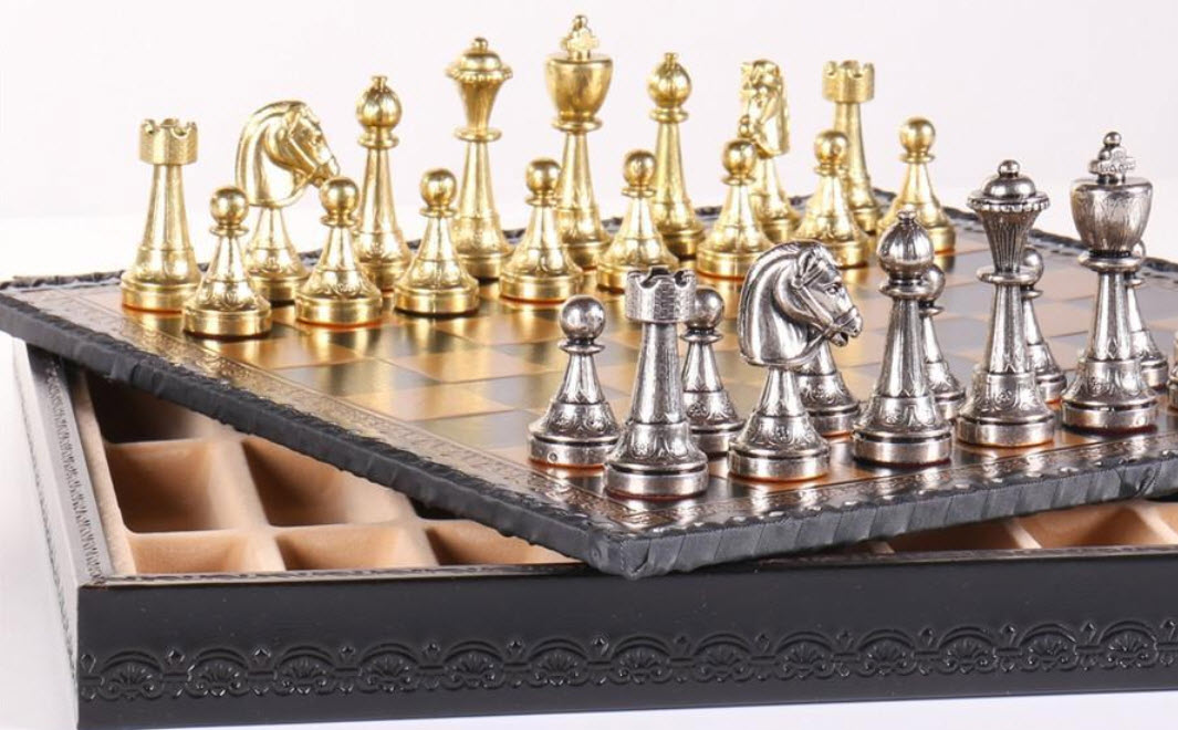 Florentine Metal Chess Set and Storage Chest