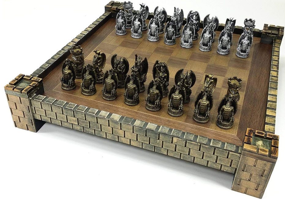 Dragon Fantasy Gothic Medieval Times Chess Board Set