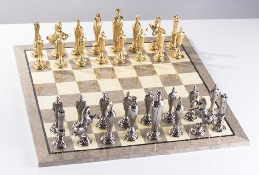Large Metal Renaissance Chess Set Featuring a Grey Gloss Board