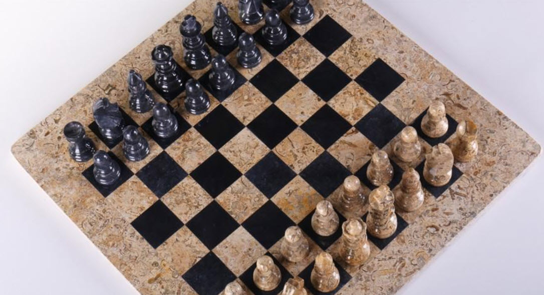 American Designed Coral and Black Marble Chess Set