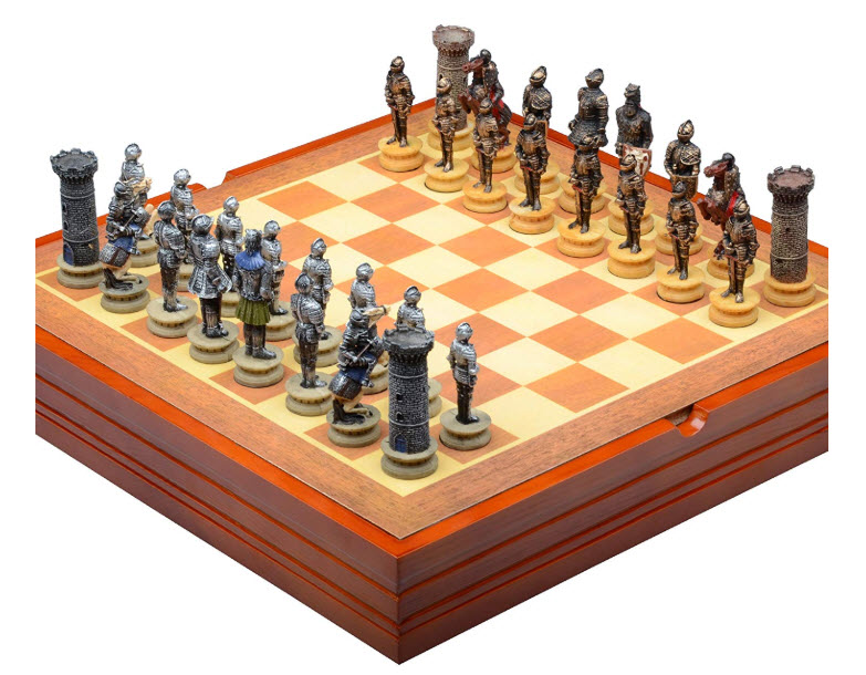 Medieval Knight Chess Set and Wooden Playing Board