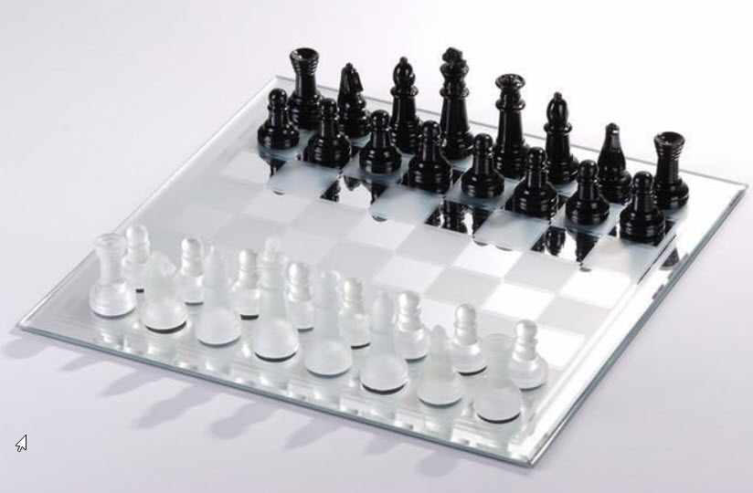 White and Black Mirror Chess Board