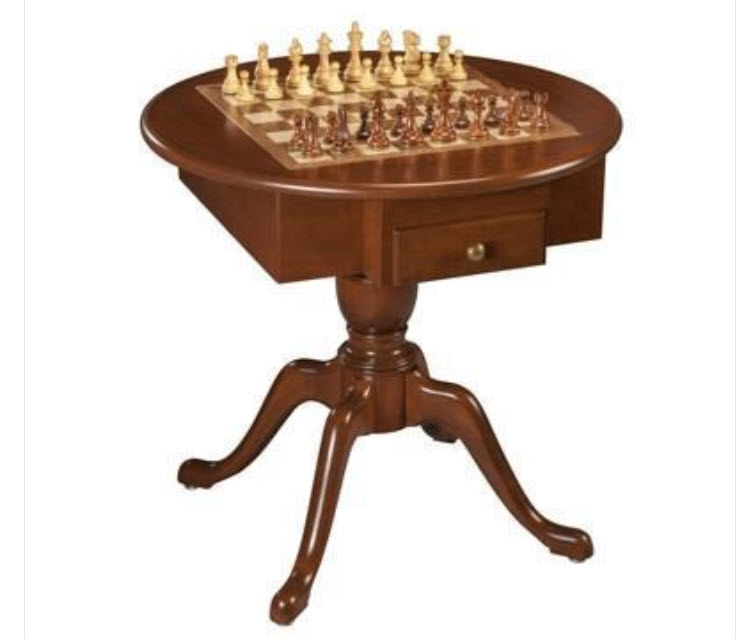 3-in-1 Solid Cherry Wood Round Pedestal Game Table