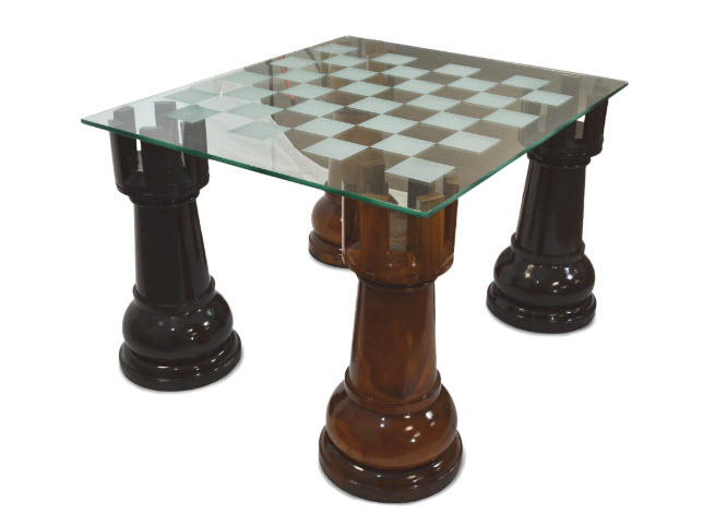 Etched Glass Giant Chess Table