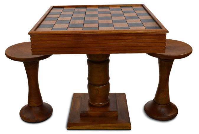 Teak Giant Chess Table from MegaChess