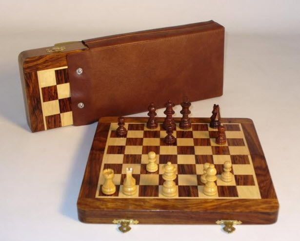 Folding Wood Magnetic Travel Chess Set