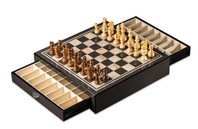 Carbon Fiber and Mother of Pearl Look Chess Set